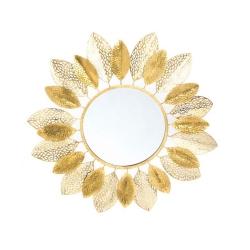 Espejo de pared provenzal dorado de metal para la entrada de 90 cm France