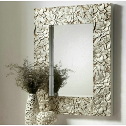 Espejo de pared madera tallada plata 75x95 cm .