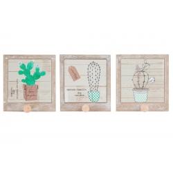 "Pack 3 Percheros de pared individual de madera 1 colgador ."" Cactus"""