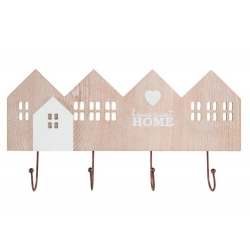 "Perchero de pared madera de 4 ganchos "" Home Sweet Home"""