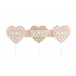 "Perchero de pared madera de 3 ganchos "" Home Love Home"""