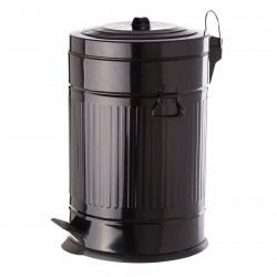 Papelera retro negro acero galvanizado 31 x 35 x 49 cm capacidad: 20 litros.