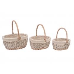 Set 3 cestas minbre tela natural con asa .