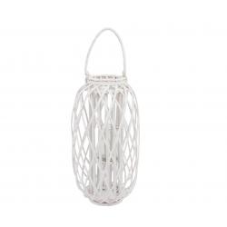 Farola minbre madera cristal 30x58 cm blanco .
