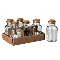 Botella cristal 5,70 x 5,70 x 11,10 cm con tapón de corcho. ( Pack 6 botellas )