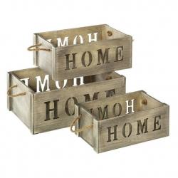 Set 3 Cajas multiusos gris contrachapado de madera para salón France