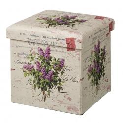 Puff plegable provenzal lila de pu para dormitorio France