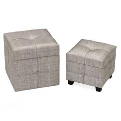 Puffs baúl modernos grises de madera para dormitorio Fantasy