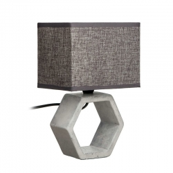 Lámpara mesa gris cerámica-tejido 22,50 x 22,50 x 32 cm