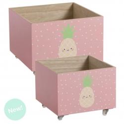 "Juego 2 cajas multiusos con ruedas infantil ""Piña"""