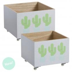 "Juego 2 cajas multiusos con ruedas infantil ""CACTUS """