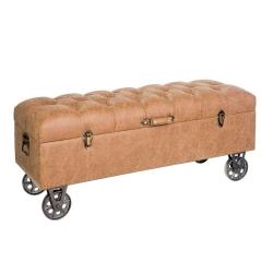 Banqueta baúl industrial marrón de madera para dormitorio Factory
