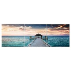 Conjunto cuadro fotoimpresión lienzo mar sol nacido .