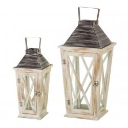 Set de 2 faroles portavelas clásicos beige de madera para decoración Bretaña