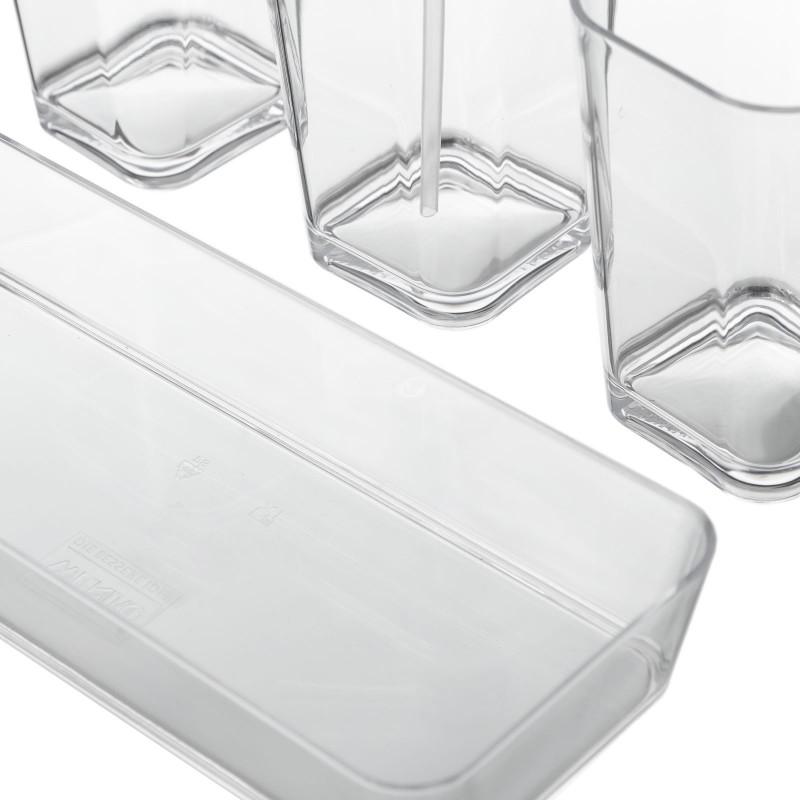 Set De Baño Bambu Dupree:Set baño 4 piezas poliestireno 2 vasos y 1 dispensador con bandeja