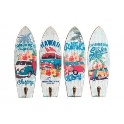 Set 4 cuadro de pared madera perchero vintage SURF 22x7 cm .
