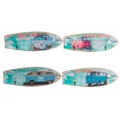 Set 4 cuadro de pared madera perchero vintage SURF 40x14 cm .