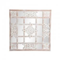Mural de espejo árabe beige de madera tallado .