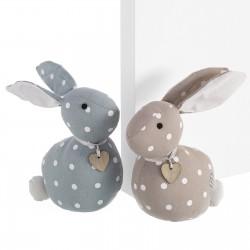 Tope de puerta decorativo conejo 2/c tela / arena 23 cm peso aproximado de 1 kg.