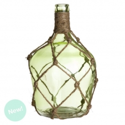 Botella cristal verde decorada .