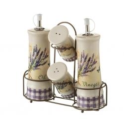 Aceitera vinagrera provenzal lila de cerámica para cocina France