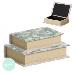 Juego 2 cajas libro diseño original hojas .