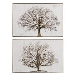 Cuadros impresión árbol gris 90x60 cm - pack 2 cuadro .