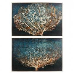Cuadros impresión coral azul 90x60 cm - pack 2 cuadro .