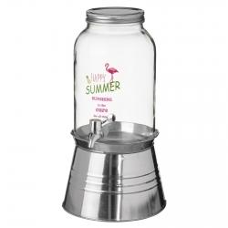 Dispensador de bebidas cristal con grifo y cubitera 3,5 litros .