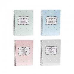 Pack 4 librera de recetas colores pastel con frase .