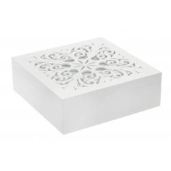 Caja infusiones de madera cristal 24x24x8 cm .