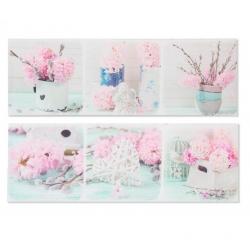 Set 2 cuadro de flores rosa de lienzo para dormitorio de 90 x30 cm