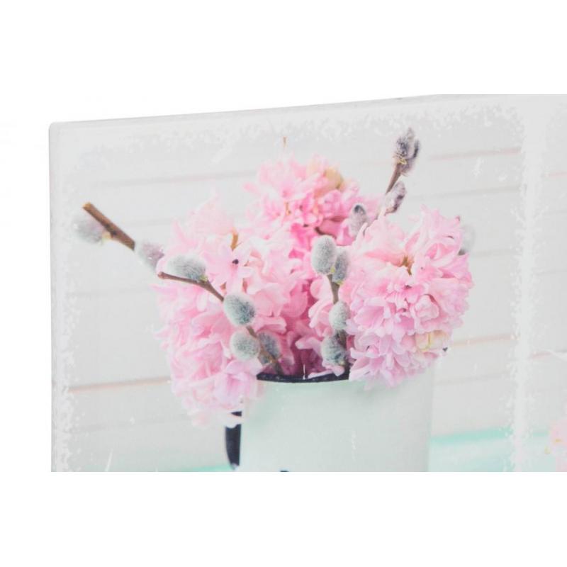 Cuadros de flores rosa de lienzo para dormitorio de 90 x30 cm dcasa - Lienzos para dormitorios ...