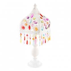 Lámpara de mesa etnica para salón 18x18x50 cm .