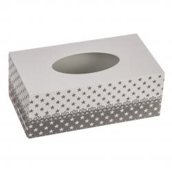 Caja porta pañuelos madera natural para tissues , decorada estrellas gris y blanco .