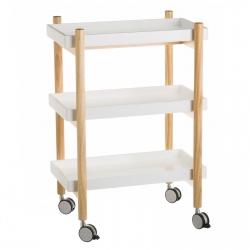 Carro cocina 3 lejas blanco de madera 56x28x80 cm