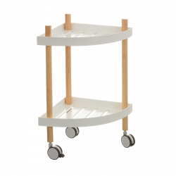 Carro cocina 2 lejas blanco de madera 49x34x58 cm