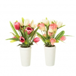 Pack 2 Planta artificial tulipan decorada maceta terracota .