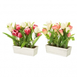 Pack 2 Planta artificial tulipan decorada maceta madera .