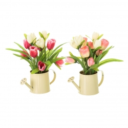 Pack 2 Planta artificial tulipan decorada maceta metal .