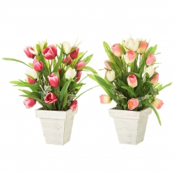 Pack 2 Planta artificial tulipan decorada maceta maceta .