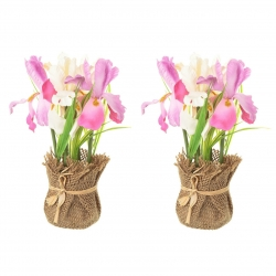 Pack 2 Planta iris decorada maceta de tela de saco .