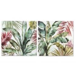 Set 2 cuadro pintado de hojas 80x80x2 cm