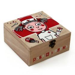 Caja de pino diseño frases 'Para mis Pupas ' 20 x 20 x 9 cm .