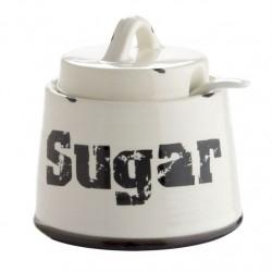 Azucarero vintage ceramica blanco/negro diseño original SUGAR