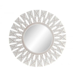 Mural espejo tallado de madera blanco 60 cm