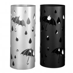 Paragüero moderno metal negro y plata. 19,50 x 19,50 x 49 cm