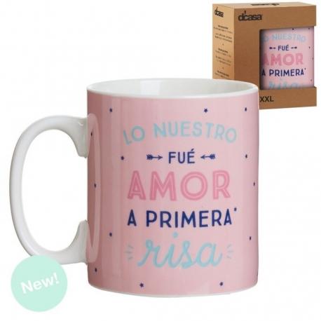 "Taza extra grande XXL 600 cc ""AMOR A PRIMERA RISA"""