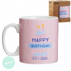 "Taza extra grande XXL 600 cc "" HAPPY BIRTHDAY """