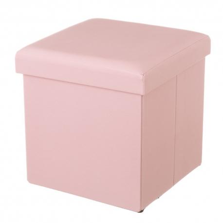Puff baúl tendencia plegable de Polipiel rosa| Dcasa.es